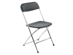 Rental store for Folding Chair - Black   Chrome in Greenville MS
